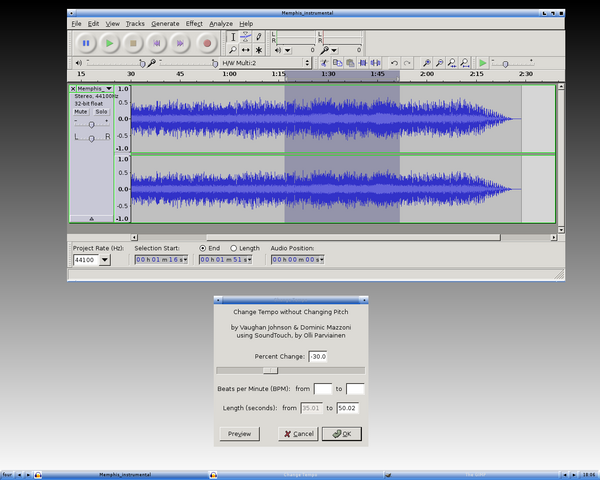 how to change the pitch in audacity