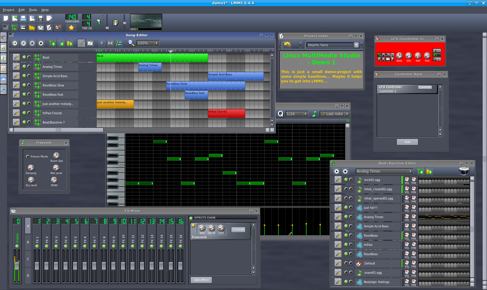 Full LMMS (Linux MultiMedia Studio) screenshot